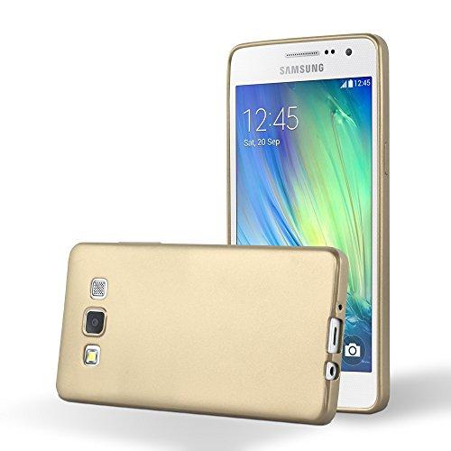 Preisvergleich Produktbild Cadorabo Hülle für Samsung Galaxy A3 2015 (5) - Hülle in METALLIC Gold – Handyhülle aus TPU Silikon im Matt Metallic Design - Silikonhülle Schutzhülle Ultra Slim Soft Back Cover Case Bumper