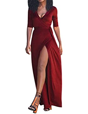 Sannysis Vintage Damen Abendkleid Boho Sommer Strand Langes Maxi Kleid