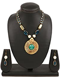 Swasti Jewels Antique Colour Gold Plated Necklace Earrings Set For Women - B0749PHP5Q
