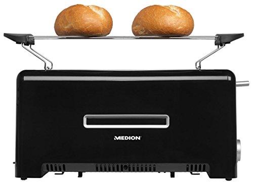 MEDION MD 15709 Toaster (1.200 bis 1.400 Watt, zwei Langschlitze, Aufwärm-, Auftau- und Stopptaste, Bräunungsgrad-Regler) schwarz