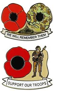 Support Our Troops Poppy Pin Badge