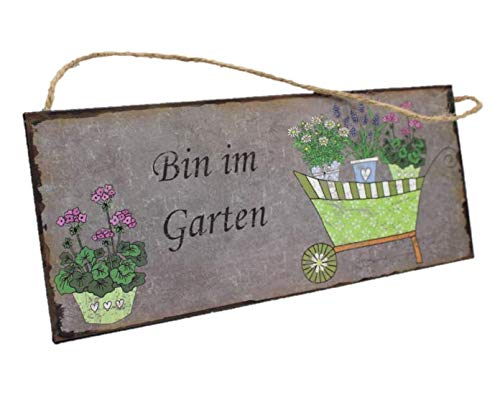 """Metallschild mit Spruch Wandbild\""""Garten\"""" ca. 30x13cm"""