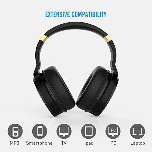 Meidong Duale Aktive Noise Cancelling Kopfhörer Bluetooth, Noise Cancelling Headphone overear Kabellose Kopfhörer mit Mikrofon HiFi Stereo Deep Bass Gemütlich Earpads bis zu 20 Std [Schwarz] - 4
