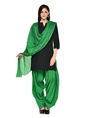 Stylenmart Women Cotton Solid Full Patiala Salwar Dupatta Set (Stmapa078610 _Green _Free Size)