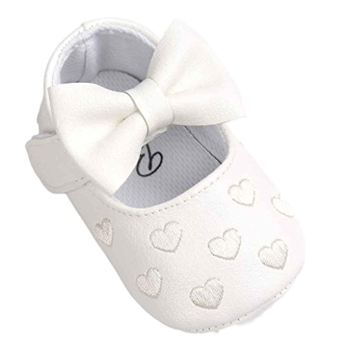 Saingace® Krabbelschuhe,0 ~ 18 Monate Baby Bowknot-Lederschuhe Sneaker Anti-Rutsch-weiche Sohle Kleinkind Weiß