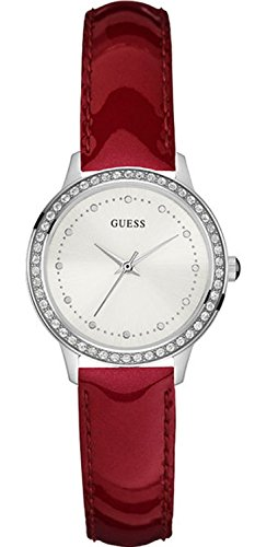 GUESS WOMEN'S CHELSEA 30MM RED LEATHER BAND STEEL CASE QUARTZ WATCH W0648L6
