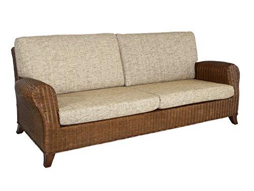 casamia Rattansofa Couch Rattan-Sofa 3-Sitzer Lounge-Sofa Roma inkl. Sitz- und Rückenkissen, Farbe...