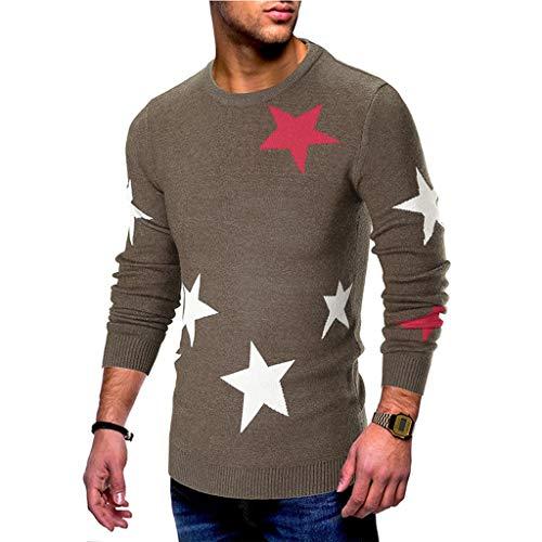 Inverno maglione da uomo,pullover uomo maglione con stampa stelle maniche felpe da uomo maglione pullover slim maglione maglieria camicetta qinsling