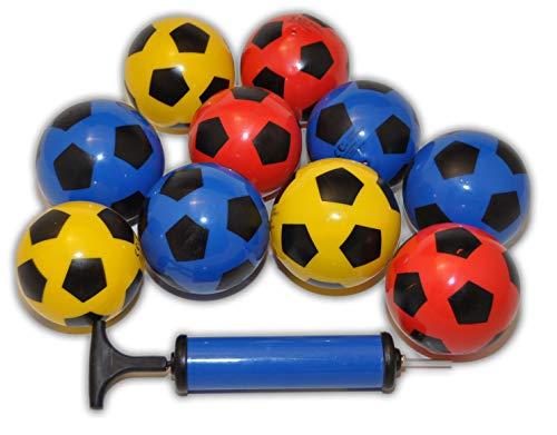 jameitop®Fußball 10x Mix Farben inkl. Ballpumpe, Durchmesser ca. 7-9 cm -