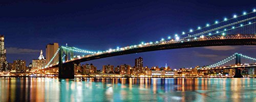 Artland Qualitätsbilder I Glasbilder Deko Glas Bilder 125 x 50 cm Städte Amerika Newyork Foto Blau D8OE City Skyline Panorama Brooklyn Bridge - Brooklyn Bridge Skyline