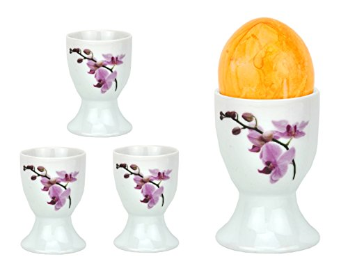 Van Well Lot de 4 coquetiers Blanc 4,8 cm. Kyoto Orchidee