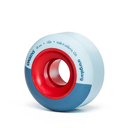 Orangatang Onsens 58 mm 100a Freestyle Park Skateboard Wheels (Blue, Set of 4) -
