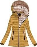 Yam Yam Fashion Damen Jacken Steppjacke Mit Kapuze Senf (72 Kr-7213-Muszt Gelb L