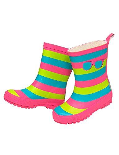 maximo Mädchen Gummistiefel, Kindergummistiefel, Streifen, Matt, Pink/Blau/Grün mit Motiv Sonnenbrille (31)