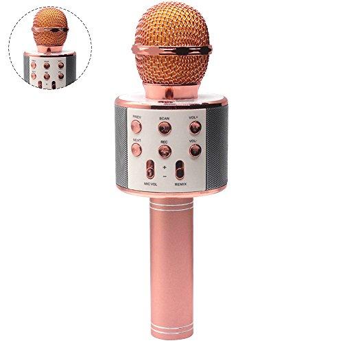 Pingenaneer Drahtloses Mikrofon Mit Bluetooth Lautsprecher Für Smartphone Karaoke Ideal Für Musik Abspielen und Singen, Unterstützt TF Karte, Kopfhörerbuchse und USB-Buchse - Roségold