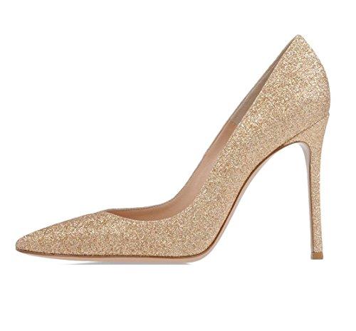Soireelady Scarpe Donna,Classico Pointed Toe High Heels,Paillette Oro EU41