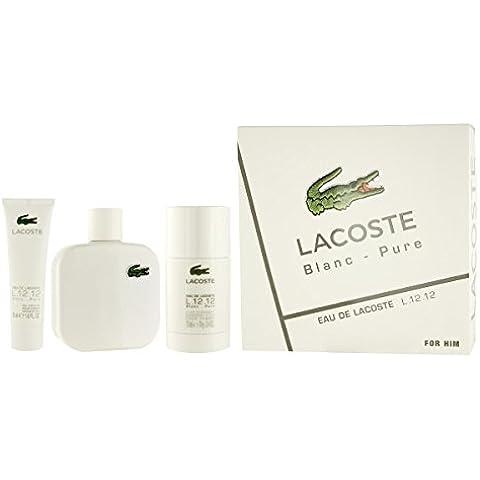 Lacoste L 12 12 Blanc 100ml Espray Colonia+ 50ml Gel de Ducha + 75ml Desodorante En Barra Set Regalo Para Hombre