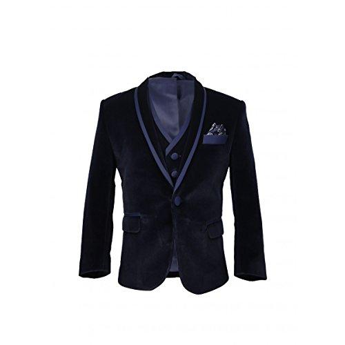 SIRRI Für Jungs Blau Hochzeits und Feier Samt Anzug 3 Teilig, 7 Jahre (3-teiliges Samt-anzug)
