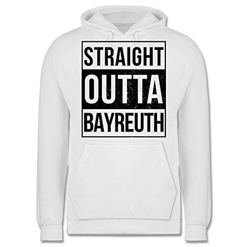 Franken Männer - Straight Outta Bayreuth schwarz - JH001 Herren Kapuzen Pullover Weiß