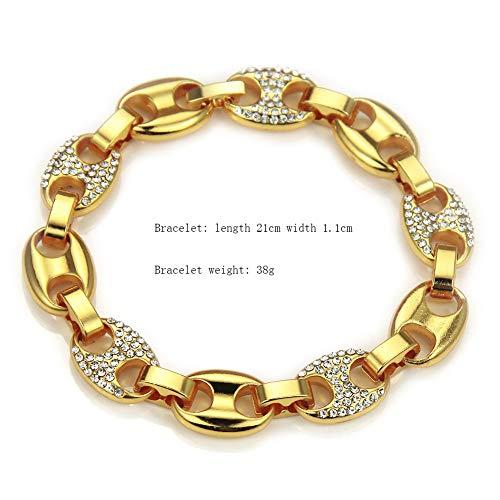 Armband aus kubanischer Panzerkette, 18 Karat vergoldet,11 mm Breite Iced Out Hip Hop Kette Herren Schmuck Curb Armbänder Kristall Strass Diamanten Kubanisches Gold Überzogene Gliederkette 21cm ,Gold (Strass-perlen-armband-uhren)
