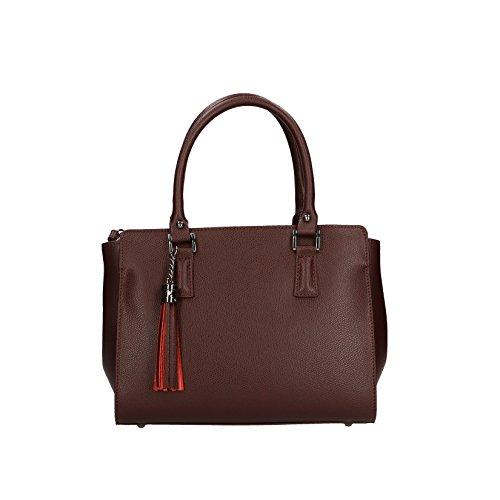 CTM Sac à main femme en motif Saffiano avec bandoulière, cuir made in Italy - 27x19x14.5 Cm Bordeaux