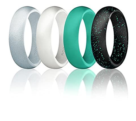 Silicone Wedding Ring For Women By ROQ, Set of 4 Silicone Rubber Wedding Bands - Black with Glitter Sparkle Teal, Teal Turquoise, White, Metal Look Silver - Size
