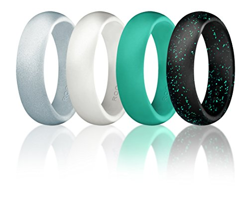 ROQ Silikon-Hochzeitsring für Damen, Silikon-Gummi, 4er-Pack – schwarz mit Glitzer, Blaugrün, silberfarben, türkis, weiß 5 Black with Turquoise glitters, White, Silver and Turquoise Herren Weiß Gold 5mm Ehering