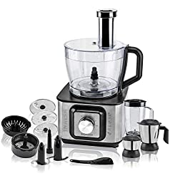 Inalsa INOX 1000 Food Processor - 1000 Watts - Black/Silver - Free One Isha Stainless Steel Insulated Lunch Pack
