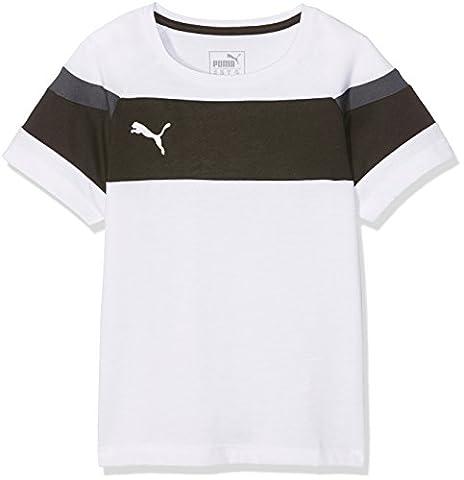Puma Kinder Spirit II Leisure T-Shirt, White/Black, 176