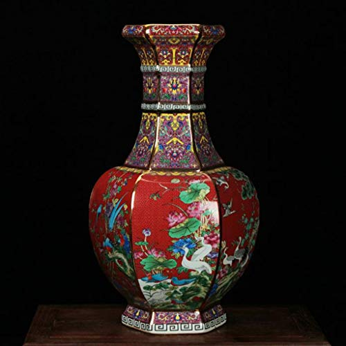 S-AMEI Vase, Große Keramik Bodenvase, Antike chinesische Emaille Pastell Sechs-Faced Blumen-Vogel-Vasen for Blumen Hohe 55cm (Color : Red)