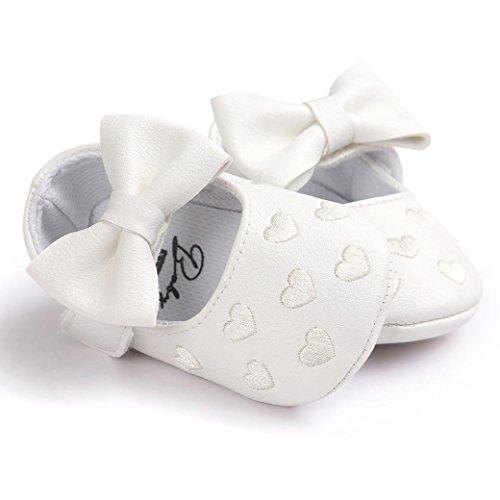 BZLine® Baby Mädchen Bowknot Leder Schuhe Kinderschuhe Weiß