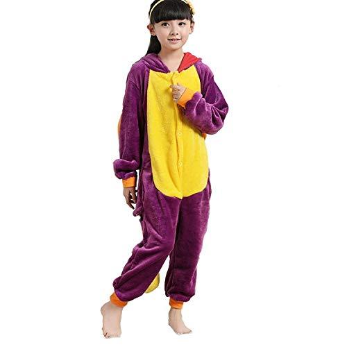 Kostüm 3 Drachen Jahre - ABYED® Einhorn Kostüm Jumpsuit Onesie Tier Fasching Karneval Halloween kostüm Damen mädchen Herren Kinder Unisex Cosplay Schlafanzug, Lila Drache, Größe 85 - für Höhe 95-105 cm (3-4 Jahre)