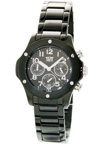 Davis 'Sport Roadster' Women's Analog Quartz Watch with Chronograph and Black Steel Bracelet - 1341