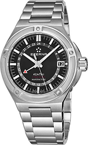 Eterna Men's Royal KonTiki GMT 42.55mm Steel Bracelet & Case Automatic Black Dial Watch 7740-41-41-0280