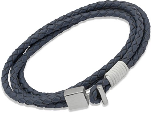 Unique Men 21cm  Double Wrap Blue Leather Bracelet with Steel T-Bar Clasp and White Binding