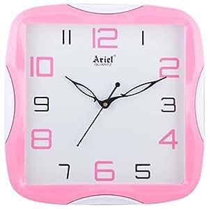 Ariel Quartz Plastic Clocks (28 Cm X 28 Cm X 4.5 Cm, Pink)