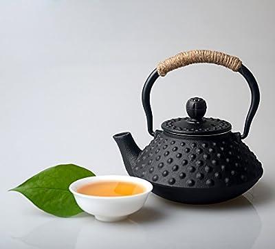 HwaGui Théière en Fonte avec infuseur Petite Théière Noire