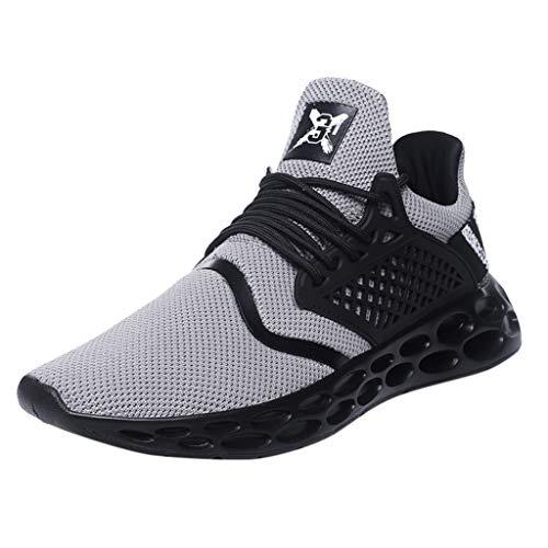 AIni Herren Schuhe,2019 Neuer Heißer Mode Beiläufiges Atmungsaktiver Schnürschuh Sport Athletic Walking Running Shoes Sneakers Partyschuhe Freizeitschuhe(43,Grau)