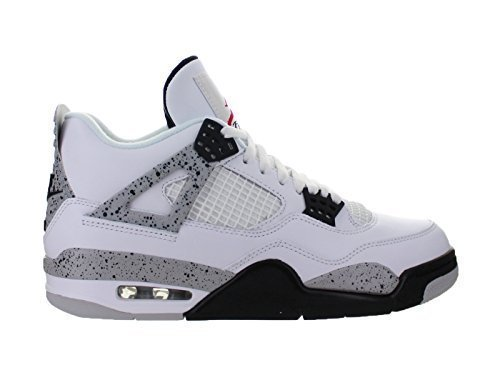 Nike Air Jordan 4 Retro OG, Basketballschuhe Herren, Weiß (White/Fire Netz-Black-Tech Grey), 42.5 EU
