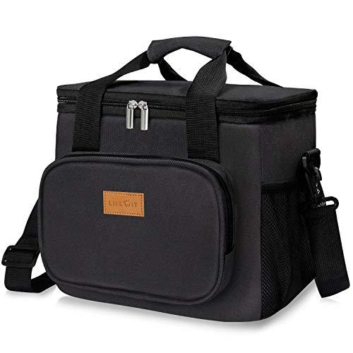 Lifewit 15l borsa termica manutenzione di freddo e caldo per uomo/donna/bambino porta pranzo cibo alimentazione lunch box per campeggio lavoro scuola (nera 37)