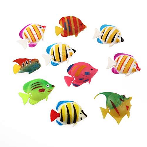 VORCOOL 10 stücke Lebensechte Kunststoff Künstliche Schwimmende Fische Ornament Dekorationen für Aquarium (Zufällige Farbe Muster)