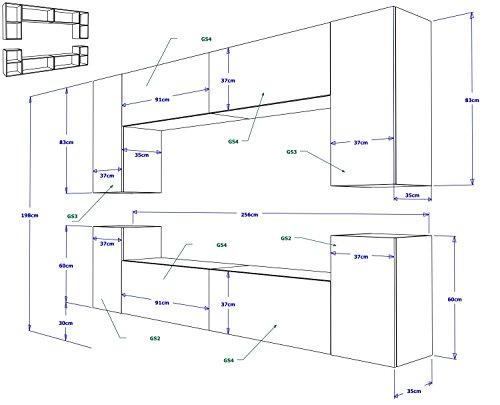 FUTURE 1 Zeitnah Wohnwand Wohnzimmer Möbelset, Anbauwand Schrankwand Möbel Set, Exklusive Unterhaltungseinheit Mit Regalen, Neue Suite, TV-Ständer / Schrank / Regal, Drücken Sie auf Öffnen / Standardgriff Wandschränke, Matte / Hochglanz, Schwarz / Weiß / Mehr Farben, Gratisversand (RGB LED Beleuchtung Vorhanden) (Weiß MAT base / Weiß HG front, Blau LED) - 4