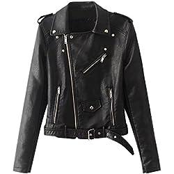 Chaquetas Para Mujer Otoño Invierno Blazers Chaqueta Con Cremallera Casual Cazadoras De Cortos De Cuero Pu Negro S