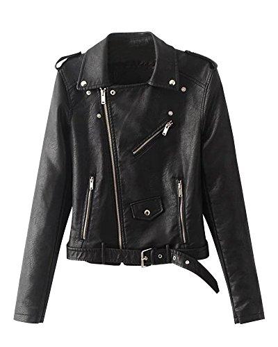 Chaquetas para Mujer Otoño Invierno Blazers Chaqueta con Cremallera Casual Cazadoras De Cortos De Cuero PU Negro XL