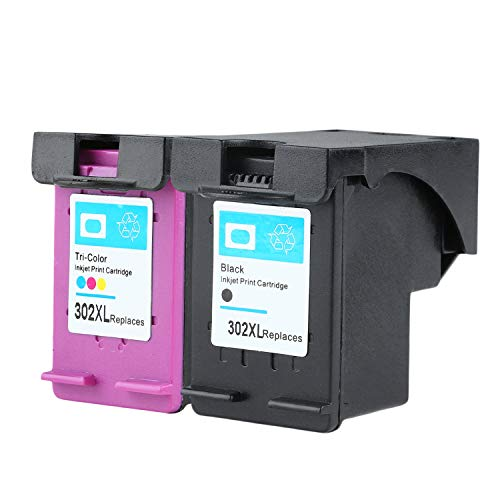 Neuer Nicht-OEM-Tinten-Patrone für HP 302 für HP-302 DESKJET 2130 1110 1115 2134 2135 3630 4520 4522 4523 Envy 4524 (1pc schwarz und 1pc tri-Color) - Standard-tri-color Tinte