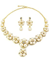 Dolly Jewels 14K Gold Plated Simple Party Wear Necklace Set With Earrings For Women