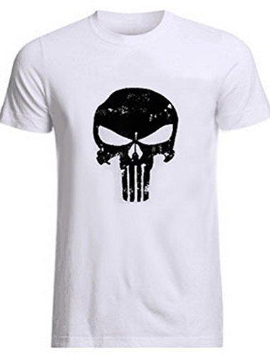 ROBO Camiseta para Hombres Manga Corta Impresión de Cráneo Vintage Camisa Tops Verano, 5 Colores, EU 38-46