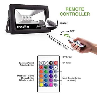 Ustellar RGB LED Strahler mit Fernbedienung 5m Kabel, IP66 Wasserdicht Scheinwerfer LED Fluter von Ustellar auf Lampenhans.de