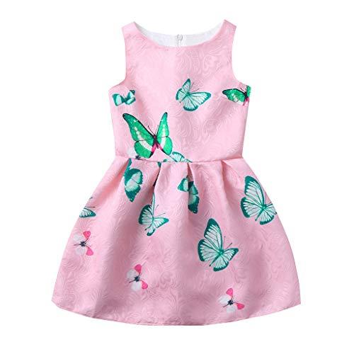 dung Mädchensets Ärmellos Schmetterlingsdruck Party Prinzessin Kleider(Rosa,130) ()