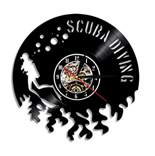 Wghshop Scuba Diving Vinyl Wall Clock Regalo para buceadores Bucear en el Agua Nadar bajo el Agua Mar Exploración Naturaleza(12')